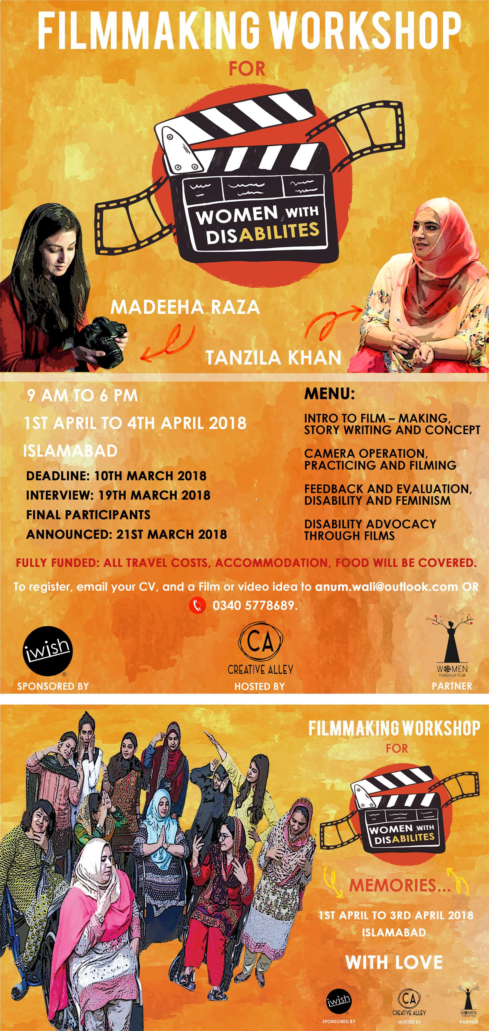 Filmmaking Workshop For Women With Disbabilities Poster Design And