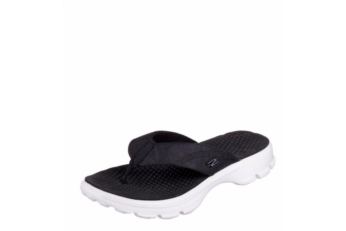 Skechers Go Walk Nestle Black White Women S Comfort Sandals Flip