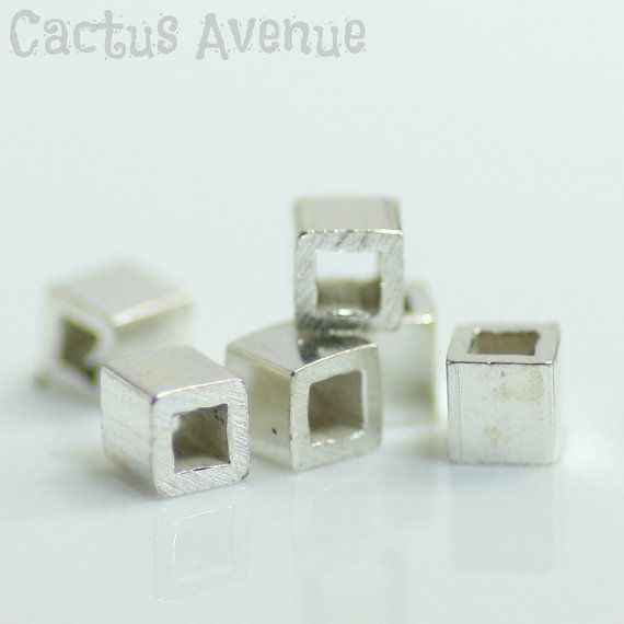 Bulk Silver Cube Beads 3mm Qty. 100 Sterling by CactusAvenue, $44.00