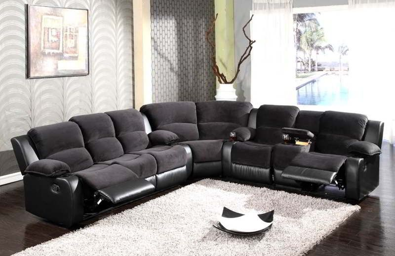 black sectional couch | Sectional sofa with recliner ...