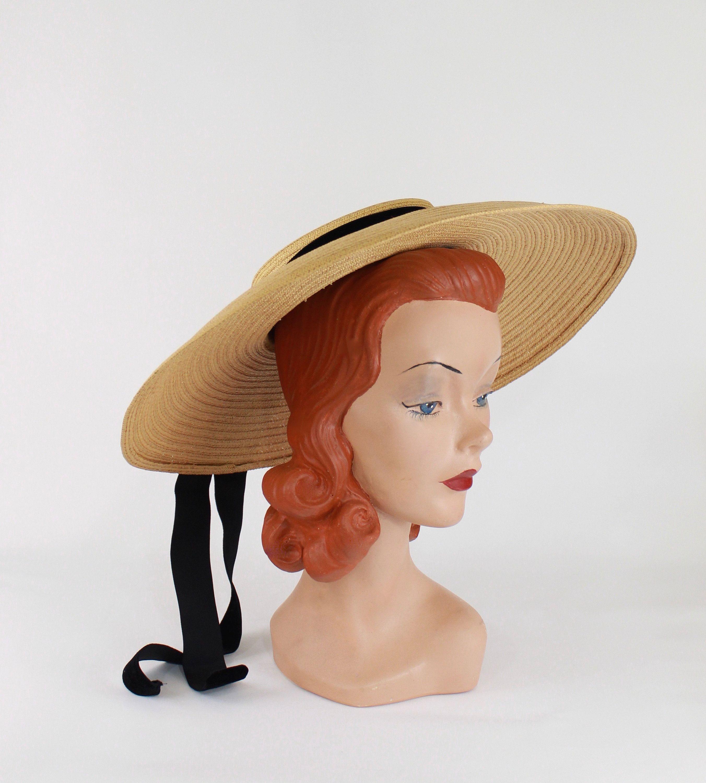 1940 S Gorgeous Fine Woven Natural Straw Large Wide Brim Platter Sun Hat With Black Velvet Ribbon Trim Swallowtails Hats Vintage Sun Hats Sun Hats For Women