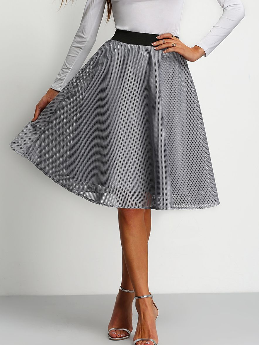 Jupe évasée taille haute -gris | Flared skirt and High waist
