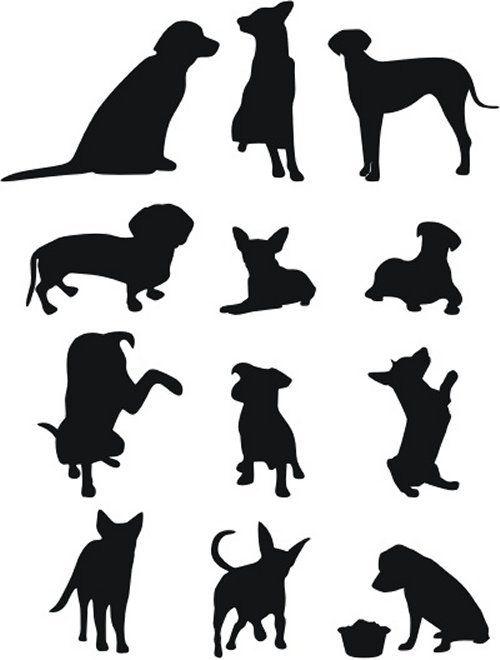 50 Free High Quality Silhouette Sets | Cameo | Dog stencil