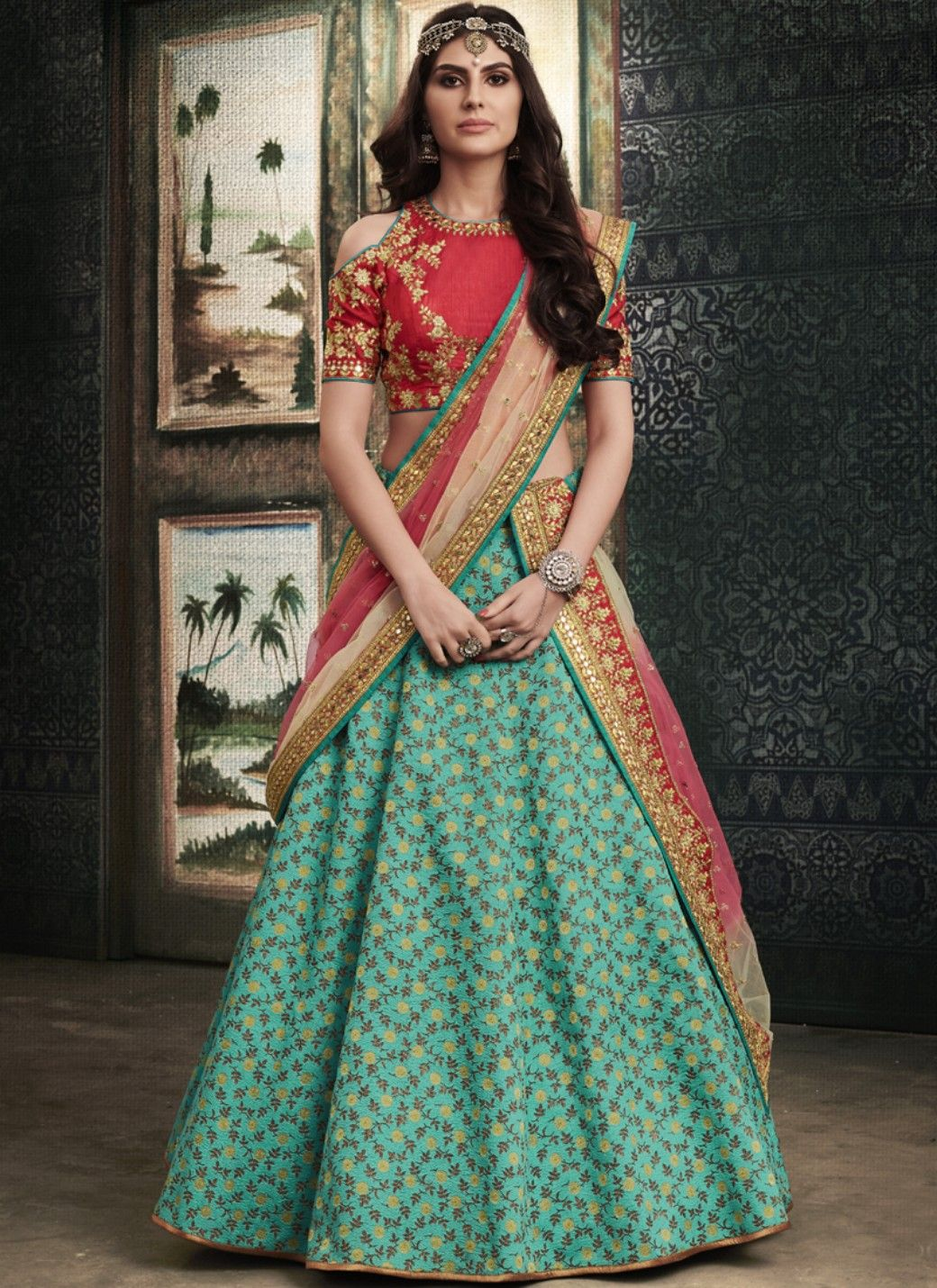 Sky blue jacquard embroidered lehenga with dupatta in