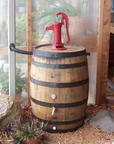 Google Image Result For Http Www Rainbarrelsandmore Com 2012 2520white 2520oak 2520pump 2520rain 2520barrel Jpg Rain Barrel Rain Water Barrel Water Barrel