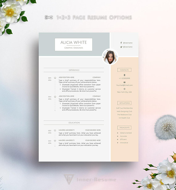 creative resume template for ms word  feminine  elegant