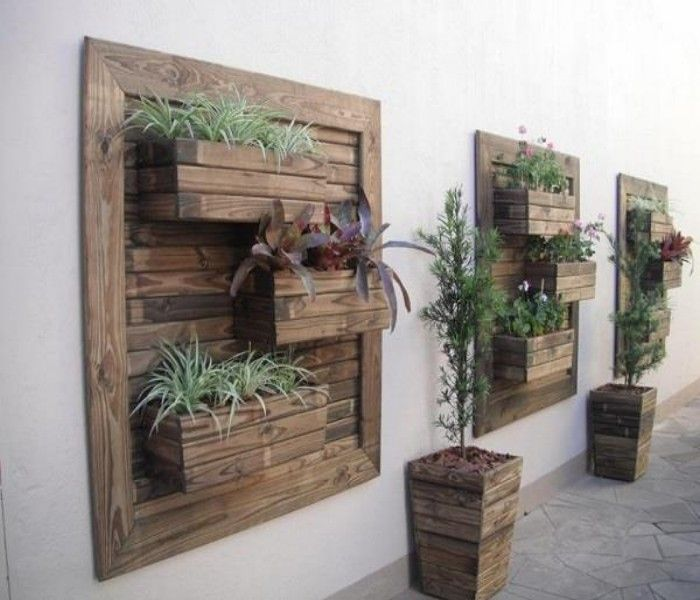 Pallets Made Wood Wall Planter Ideas Pallet Wall Decor Vertical Pallet Garden Vertical Garden Planters