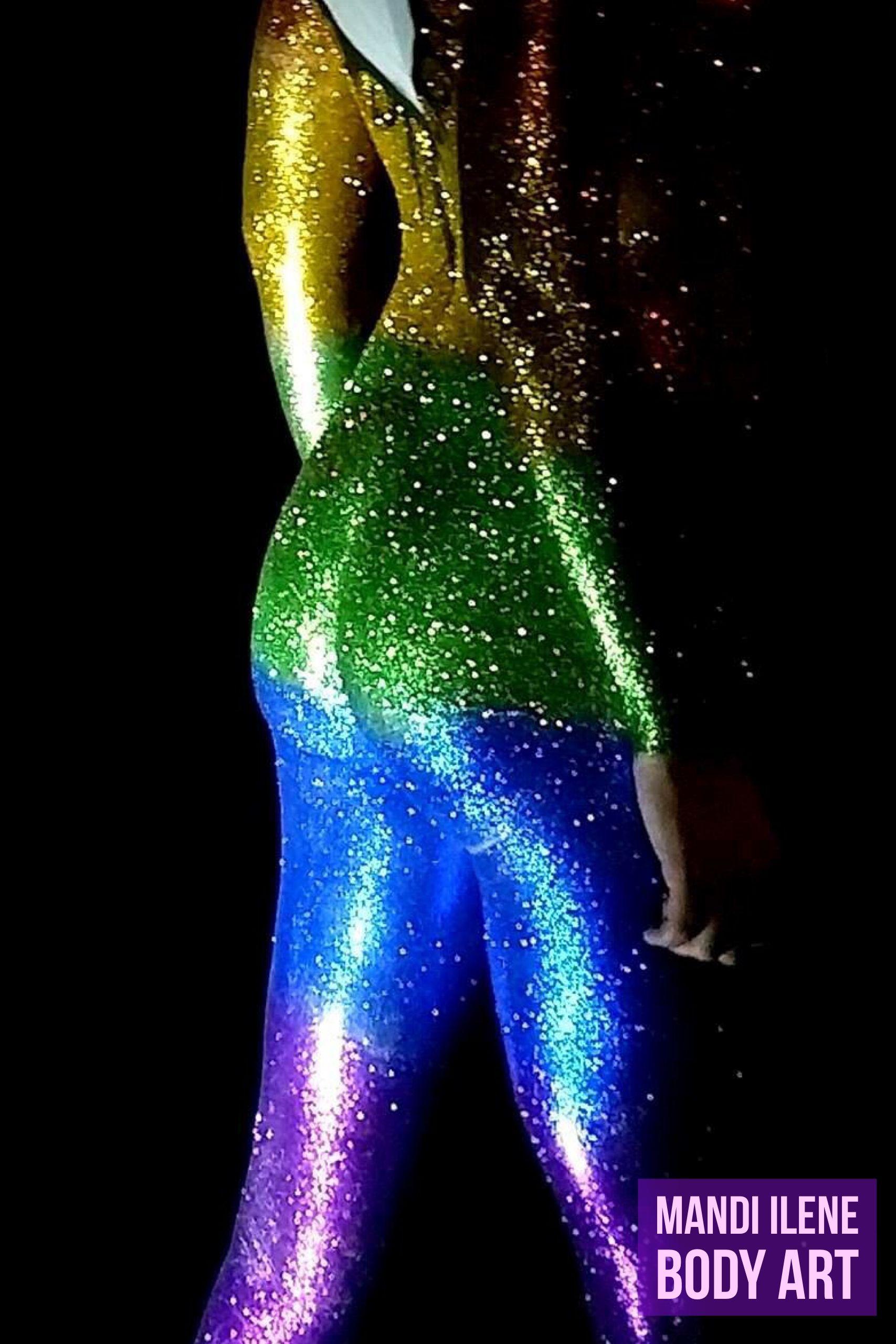 Rainbow Glitter Body Painting From Base Orlando By Mandi Ilene Body Art Body Art Henna Body Art Glitter Bodyart