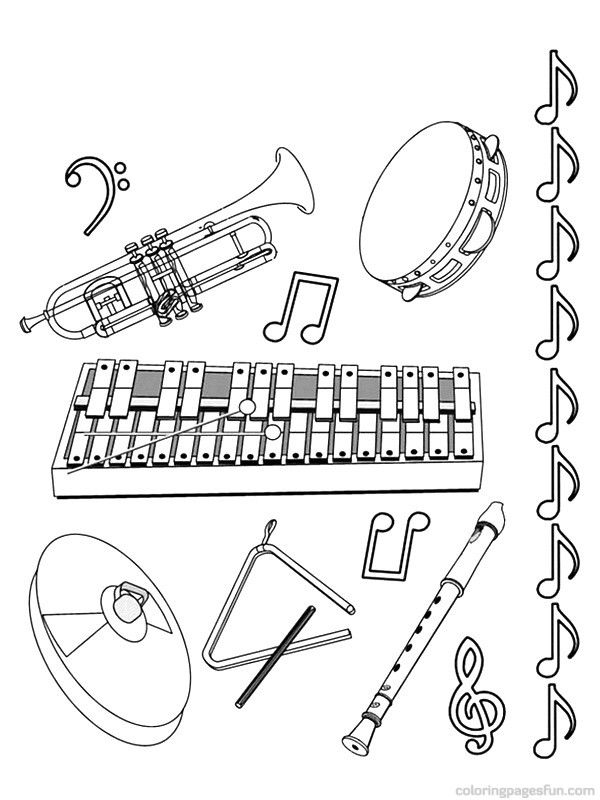 free music instrument coloring pages - photo#5