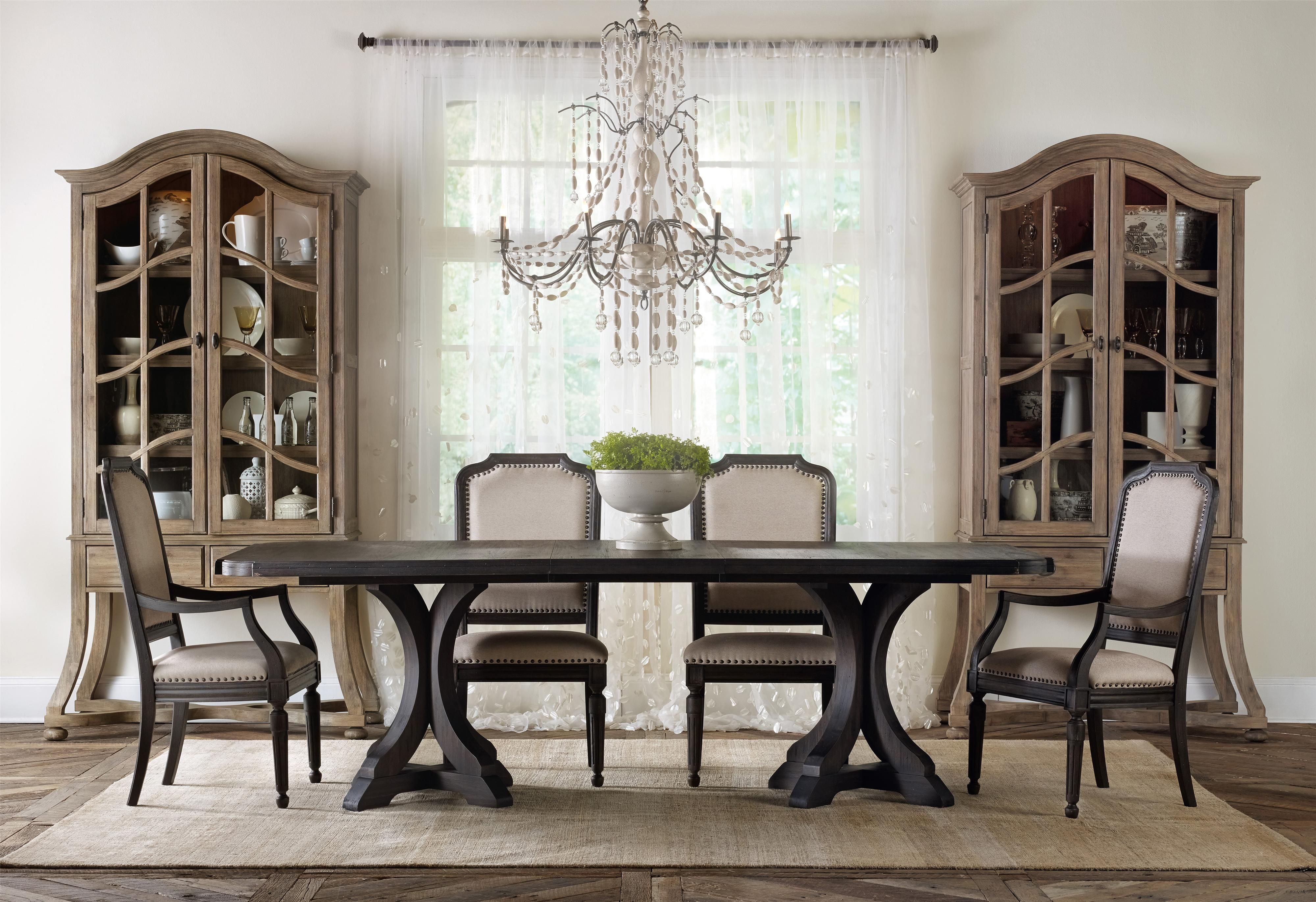 corsica rectangle pedestal dining table with 2 20 inch leaves by