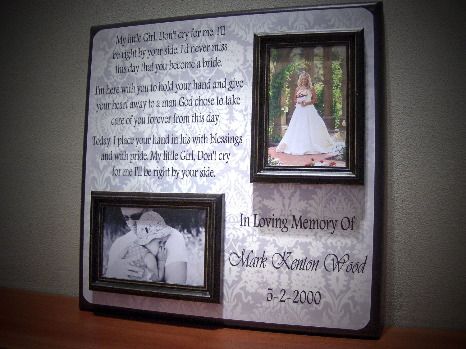 remembrance of dad on wedding in memory of picture frame parent wedding