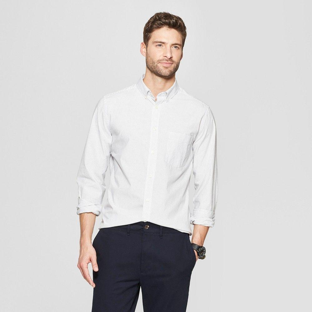 6ef56978aae Men's Striped Slim Fit Long Sleeve Northrop Poplin Button-Down Shirt -  Goodfellow & Co White L