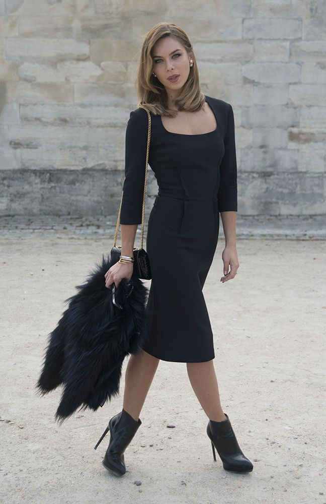Vestido de cuero negro para apantallar