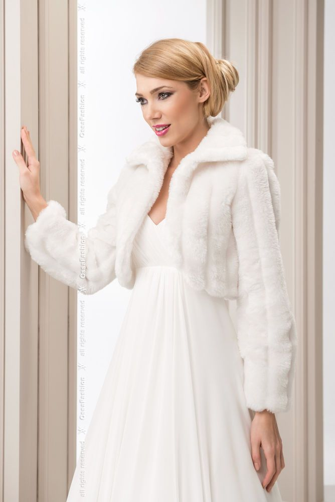 wedding ivory faux fur shrug bridal bolero jacket coat long sleeve s m l xl