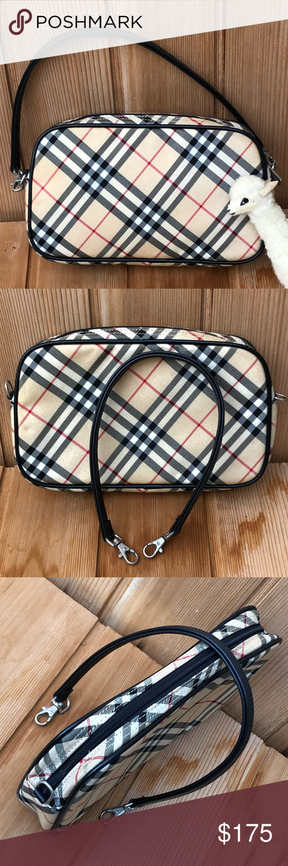 33b5537506ca Burberry Blue Label Clutch ECU Blueberry Blue Label Clutch or Small Bag  Nova check Made in Japan 8.5 x 5 x 1.5 inches approximately Canvas and black  leather ...