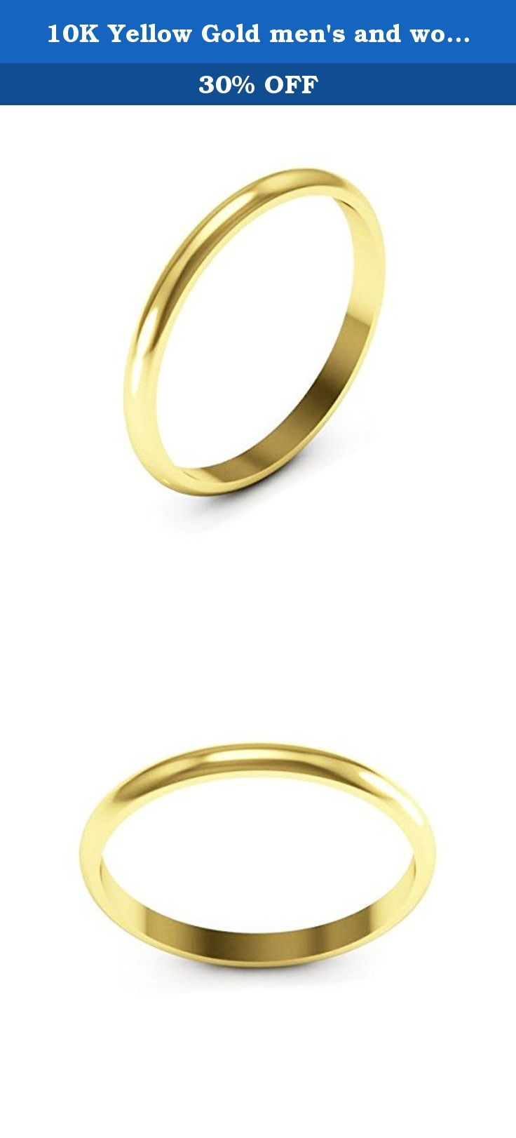 f159afafc0bc1 10K Yellow Gold men's and women's plain wedding bands 2mm non ...
