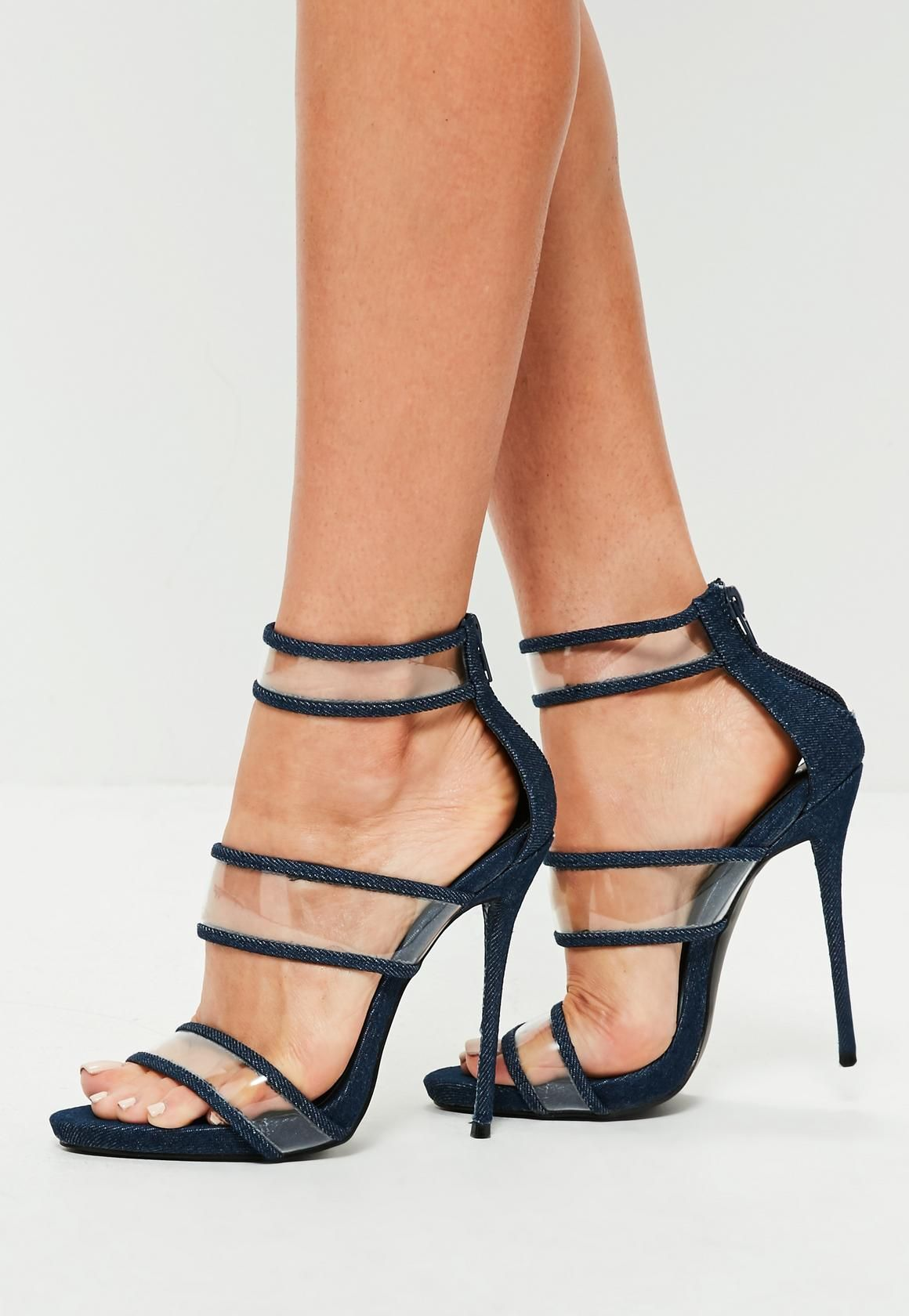af8f7a84f Missguided - Blue Denim Strappy Clear High Heel Sandals | Shoes ...