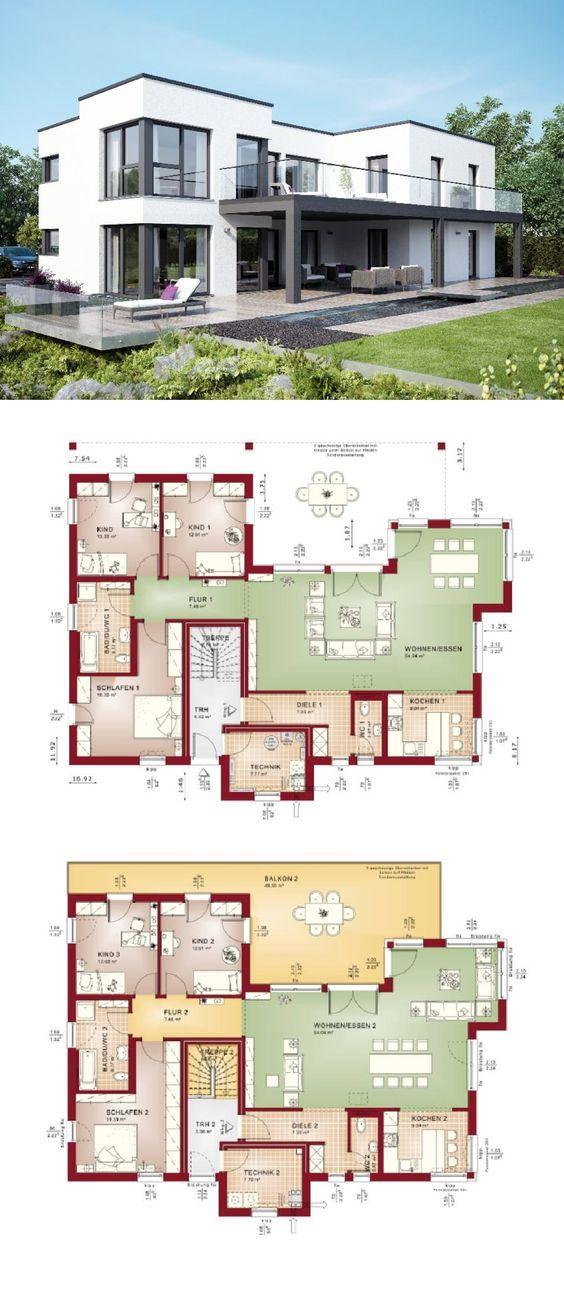 Zweifamilienhaus mit Einliegerwohnung Haus modern im Bauhausstil mit - offene kuche wohnzimmer grundriss