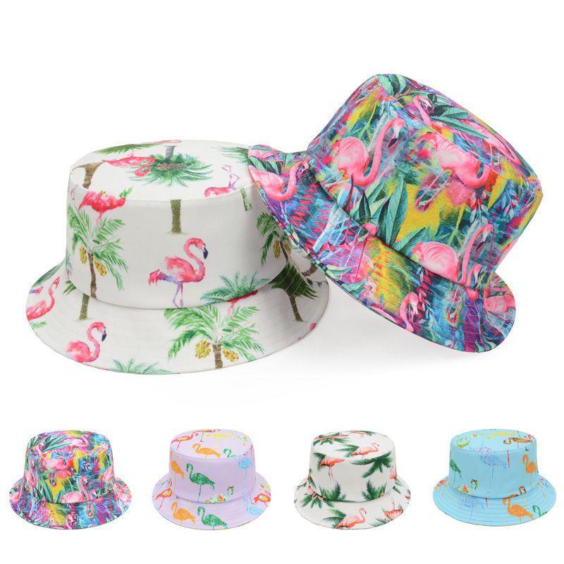 Tropical Hawaiian Palm Flamingo Unisex Bucket Hat Fishing