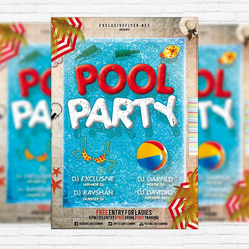 pool party premium flyer template facebook cover http