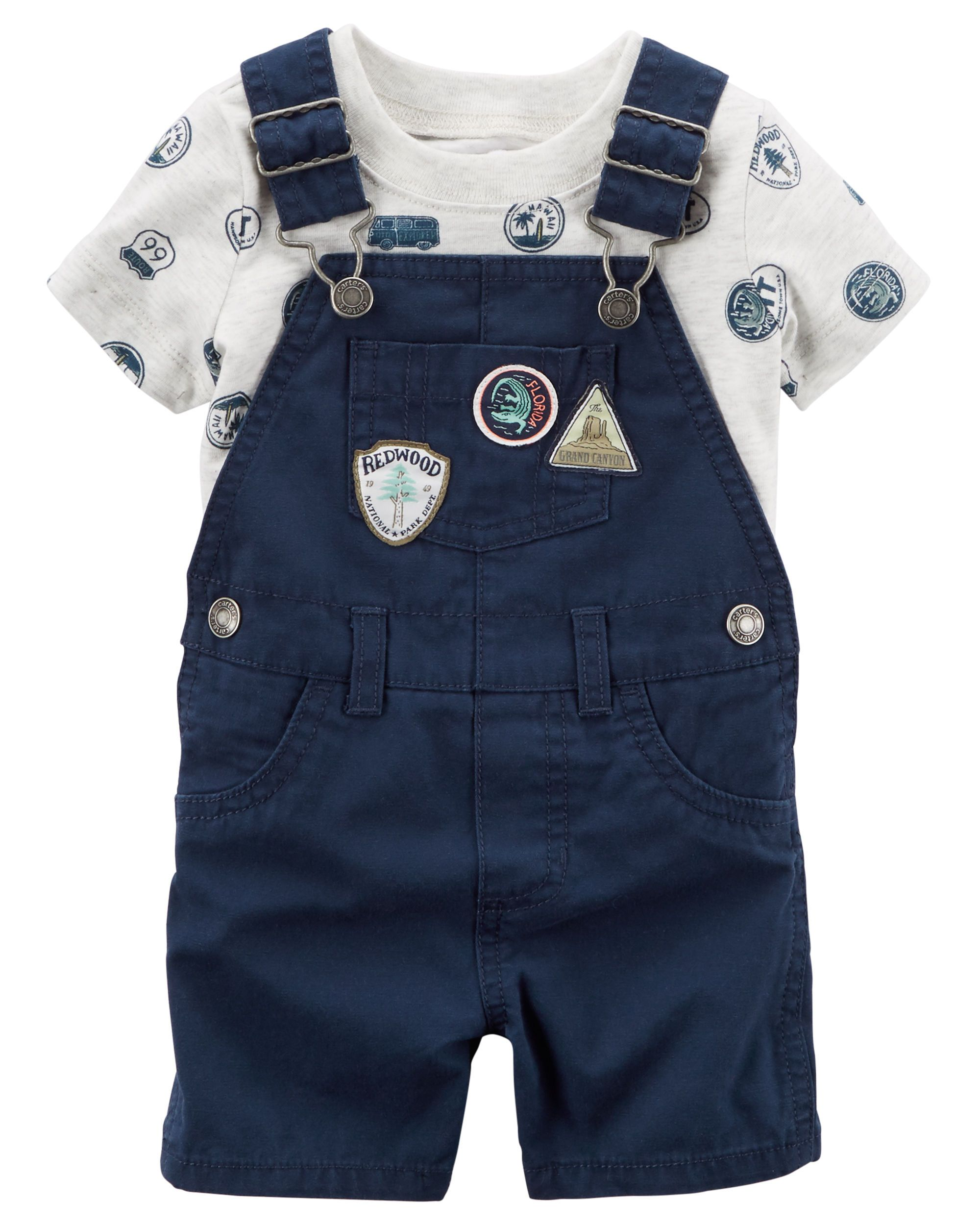 Baby Boy 2-Piece Top & Shortalls Set | Carters.com