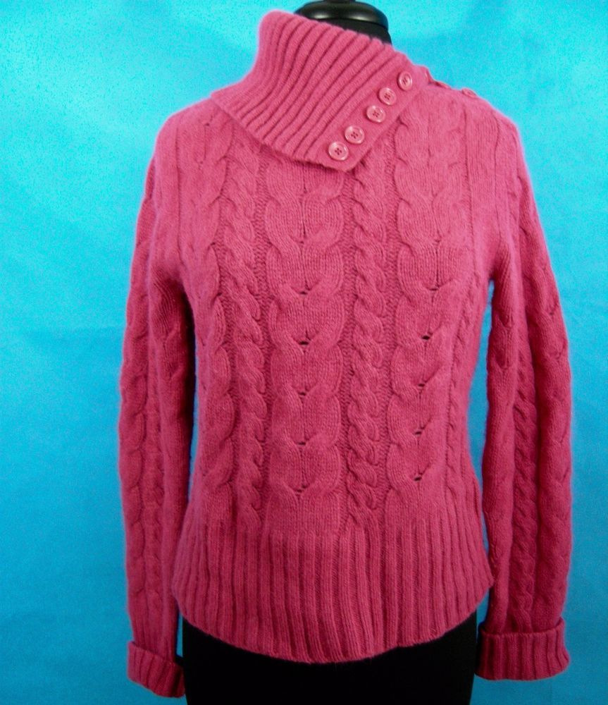 Banana Republic Womens L Pink Wool Angora Cable Knit Turtleneck Sweater Buttons Cable Knit Turtleneck Sweater Sweaters Turtle Neck
