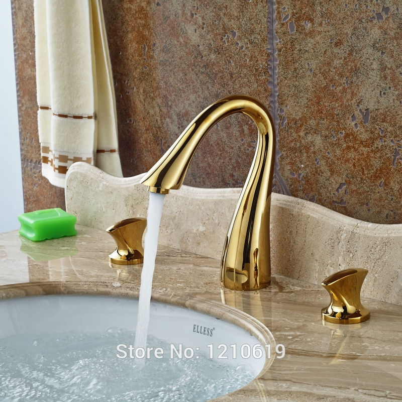 84.93$  Watch now - http://aibv4.worlditems.win/all/product.php?id=32555367546 - Newly Golden Polished Bathroom Basin Faucet Sink Mixer Tap Dual Handle Hot&Cold Water Tap Deck Mounted