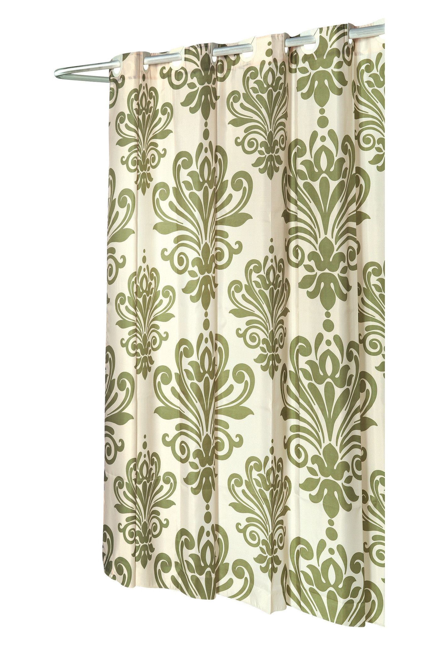EZ On French Inspired Motif Fabric Shower Curtain Sage Ivory