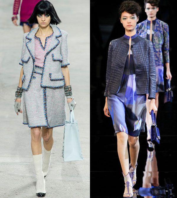 Модные жакеты без застежек весна-лето 2014 от Chanel и Giorgio Armani