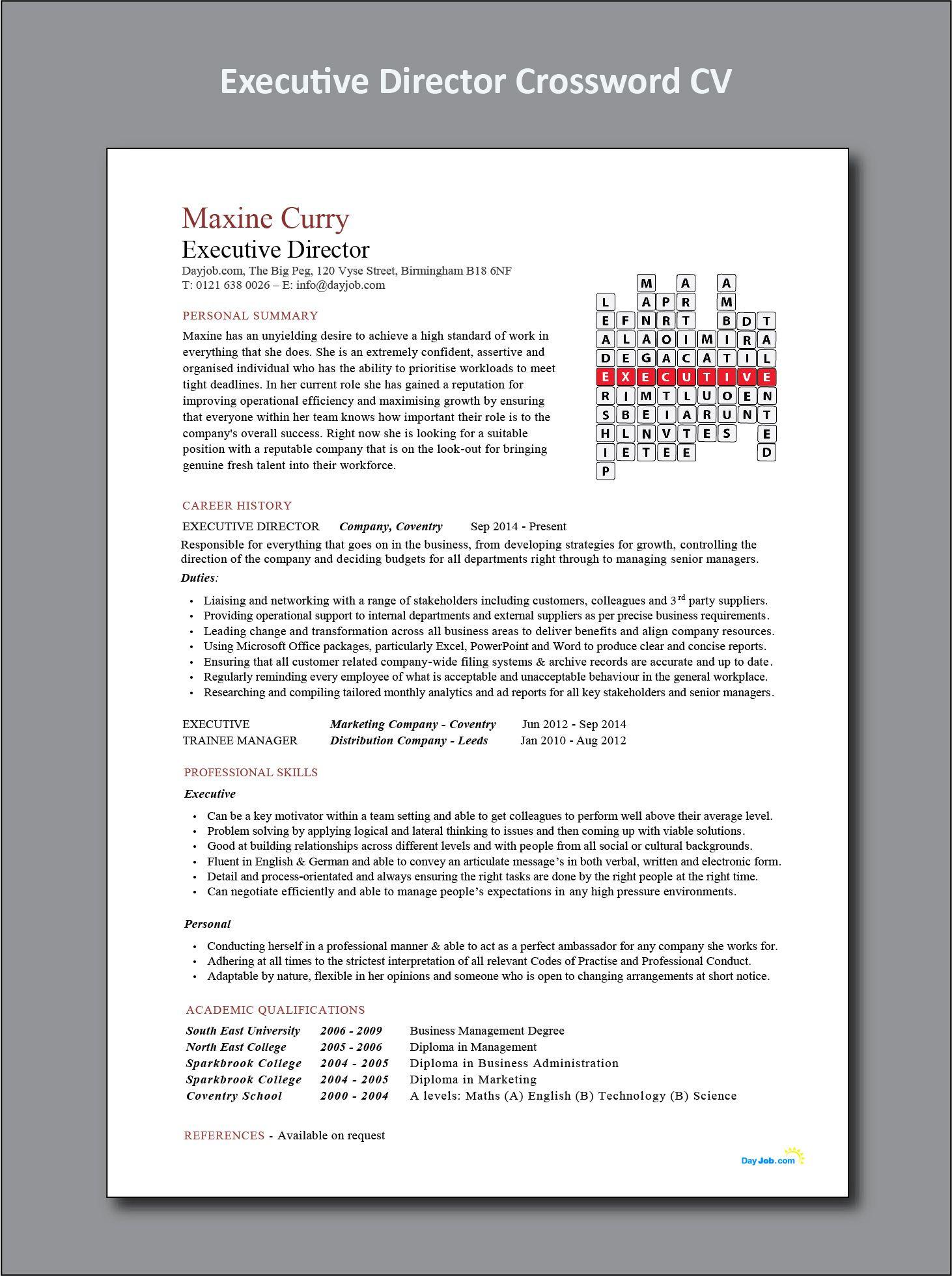 executive director crossword cv  resume  functional