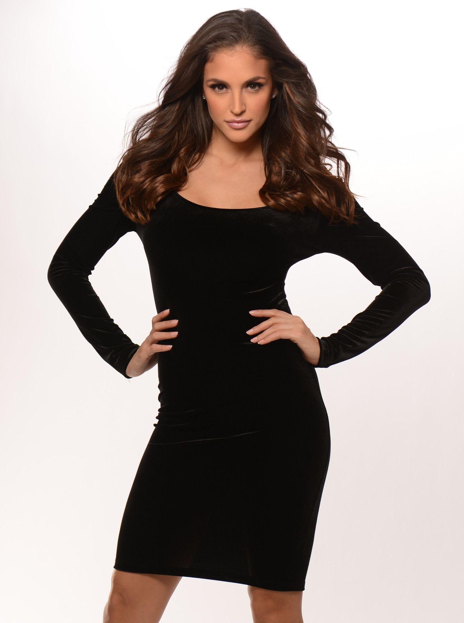 Black long sleeve velvet v back dress products pinterest products