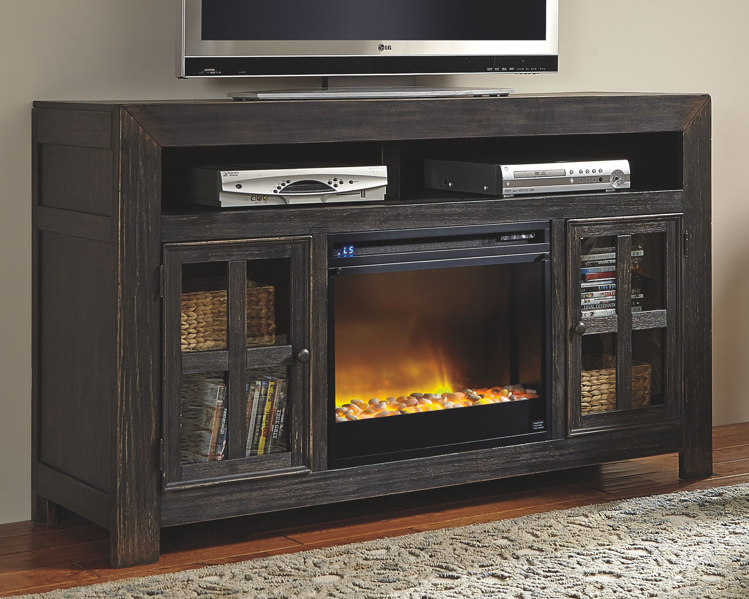 Gavelston 60 Tv Stand With Electric Fireplace Black In 2020