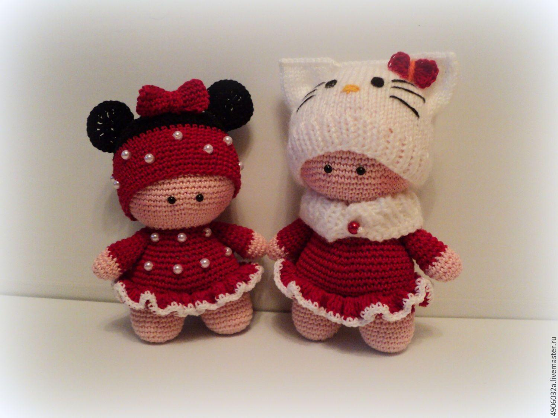 Купить Вязаная кукла .Китти и Микки - ярко-красный, Вязание крючком, вязаная игрушка