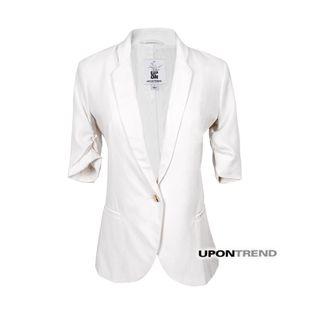 前100件折 @【呵呵也也独家】设计感纯色打褶中袖小西装 WI0277-淘宝网