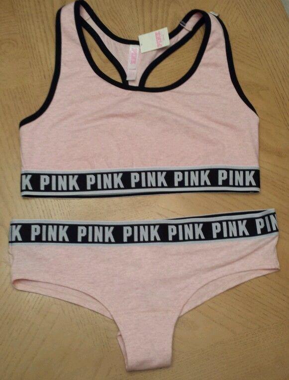 fc39ea05cfc5e Victorias Secret Fashion Show PINK Logo Sports Bra & Panty Set Size ...