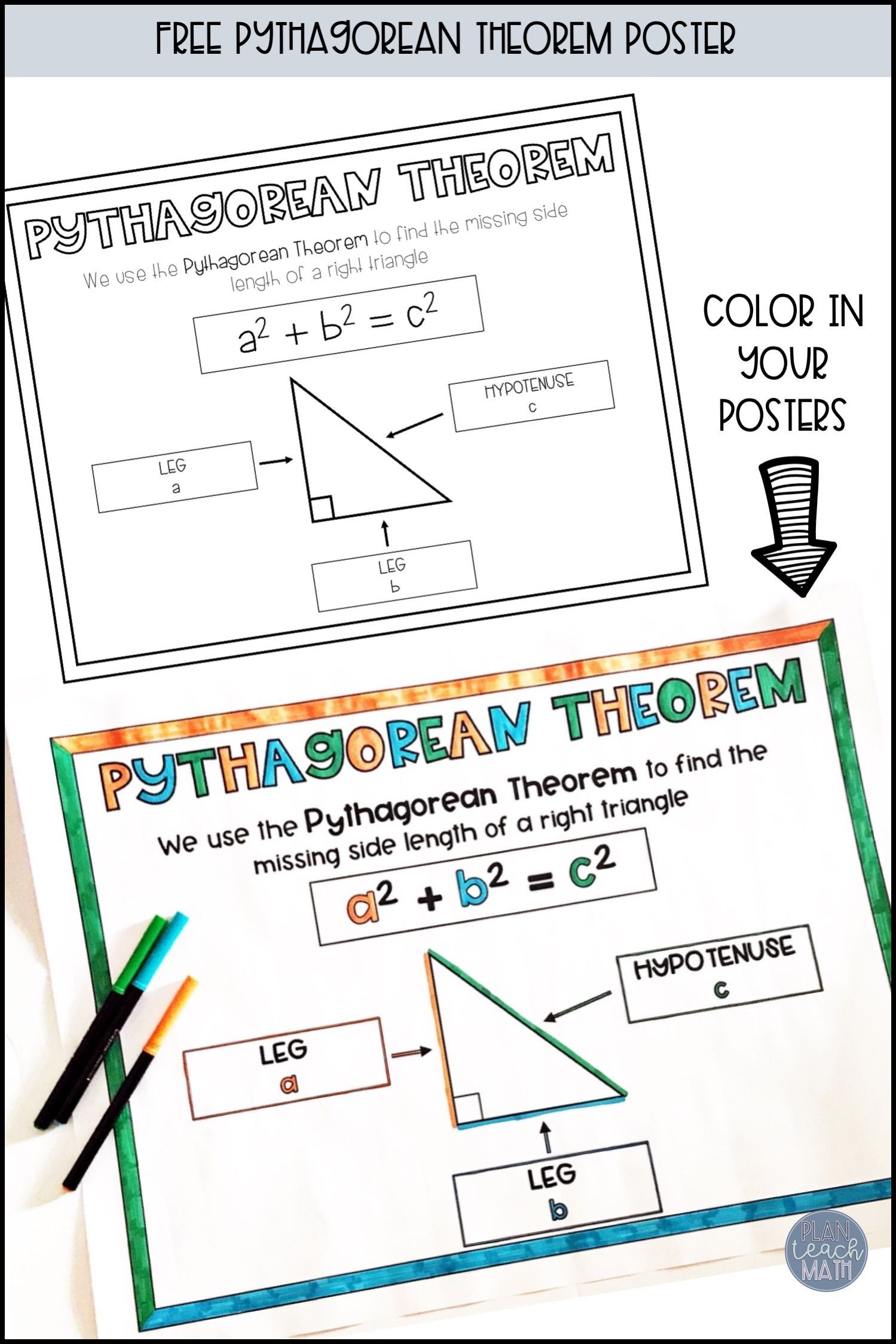 Pythagorean Theorem Posters Two Sizes Pythagorean Theorem Theorems Upper Elementary Math