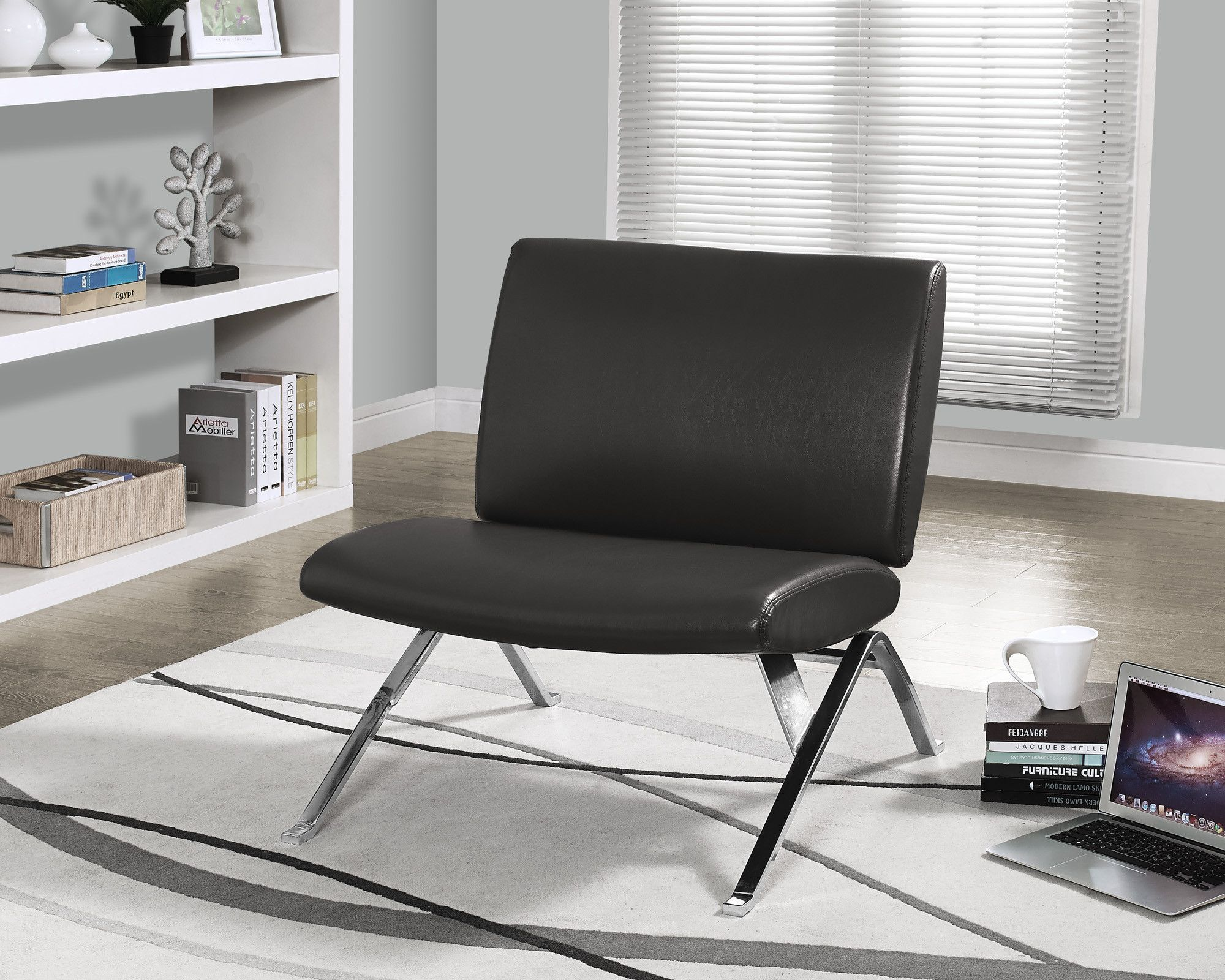 Best Charcoal Grey Leather Look Chrome Metal Accent Chair 400 x 300