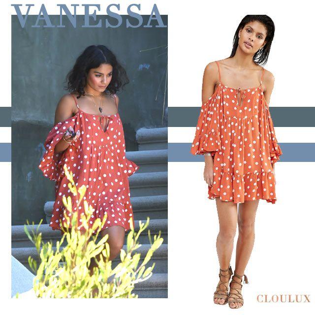 Vanessa Hudgens trägt ein wunderschönes rotes Off-Shoulder Kleid mit ...