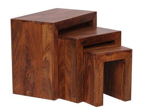 GroBartig WOHNLING 3er Set Satztisch Massivholz Sheesham Wohnzimmer Tisch  Landhaus Stil Beistelltisch Dunkel Braun