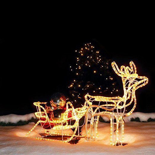 Weihnachtsbeleuchtung Schlitten Rentiere.Led Rentier Mit Schlitten 11 Meter Lichtschlauch Für Innen Außen