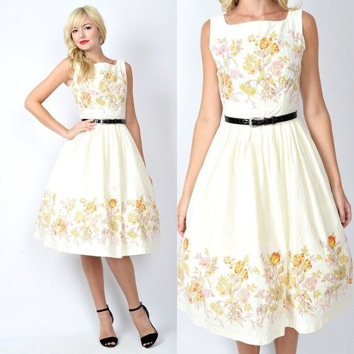 Vintage 60s Cream Garden Floral Print Full Skirt Dolly DAY Pleated Party Dress S | eBay