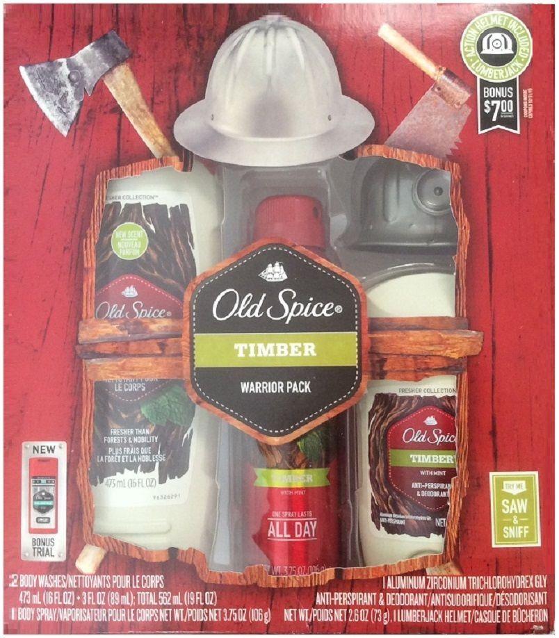 4pc set old spice timber warrior body wash spray deodorant