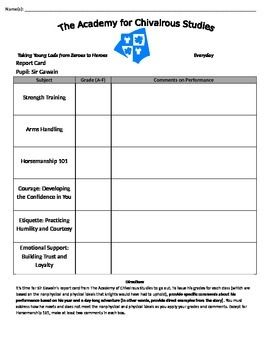 Sir gawains report card worksheets students and school this worksheet is a fun way to review sir gawain and the green knight students fandeluxe Images