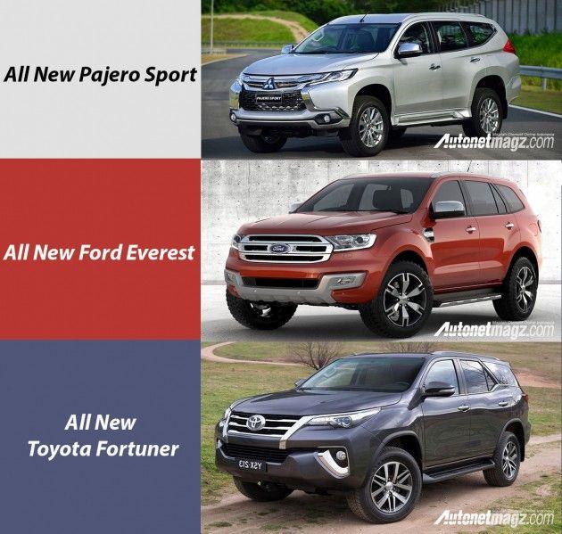 Komparasi Pajero Sport Vs Ford Everest Vs Toyota Fortuner Terbaru