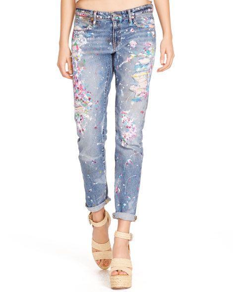 ca491f67cd8cd Ralph Lauren Polo Jettson Paint Splatter Boyfriend Astor Denim Jeans 31   PoloRalphLauren  Boyfriend