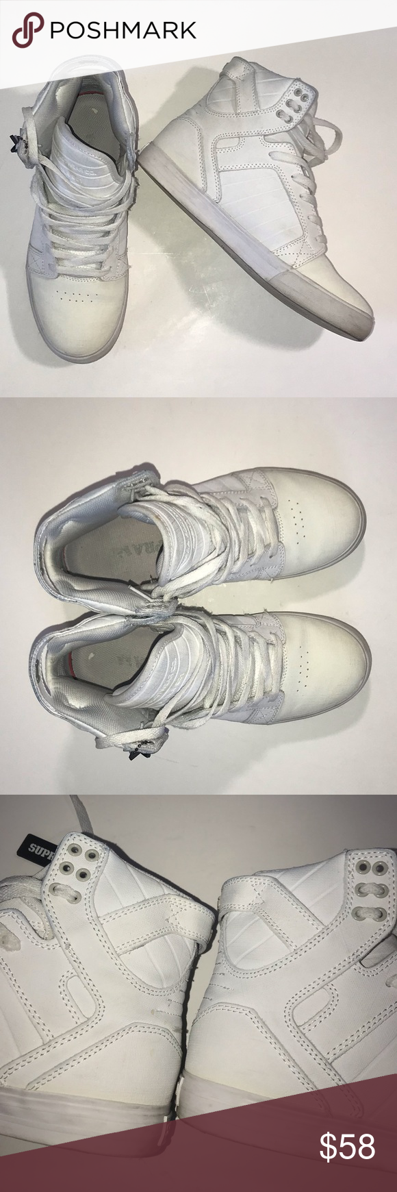Supra Muska 001 White Sneakers Size 8.5