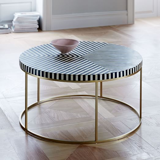 Striped Bone Inlay Coffee Table West Elm Future Home Decor Ideas - West elm geometric coffee table