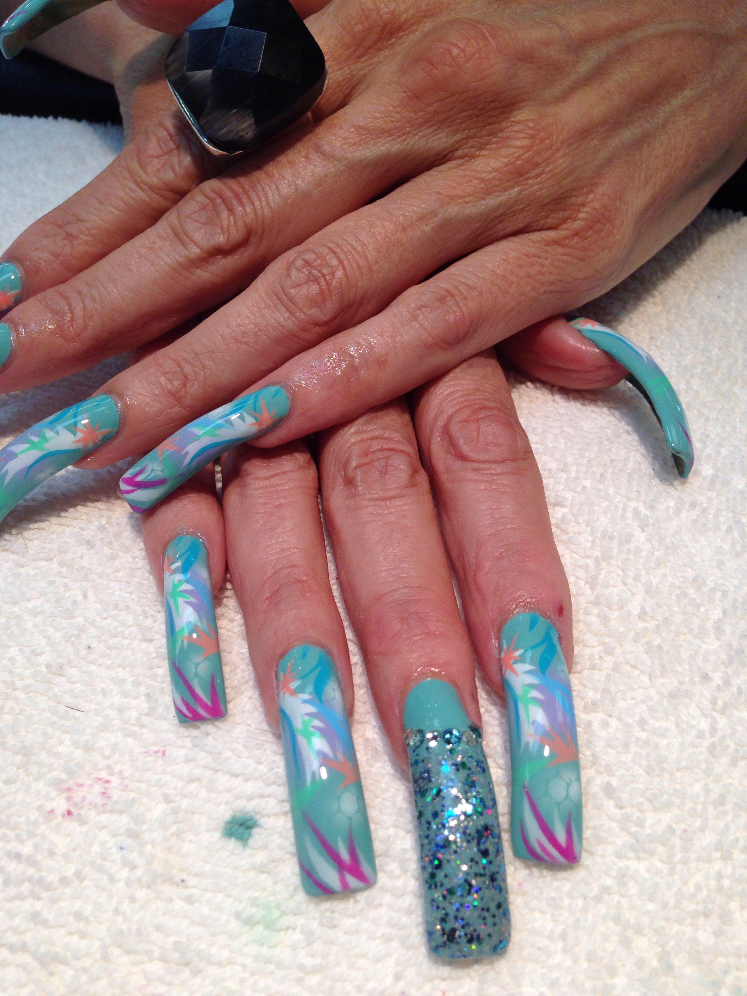 Aqua airbrush summer nails*