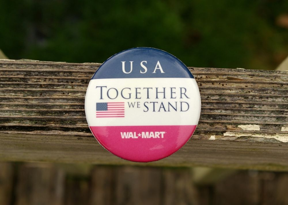 Details about Wal-Mart USA Together We Stand American Flag 2 1/4