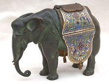 Authentique Elephant Bronze Sculpture China Enamel Cloisonne Qing Period